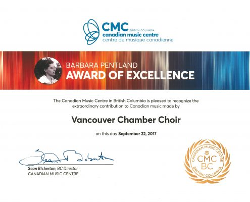 CMC Barbara Pentland Award of Excellence